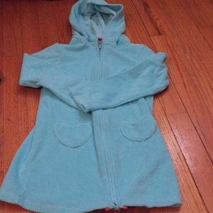 Cute terry cloth long sleeve hooded swim cover 4